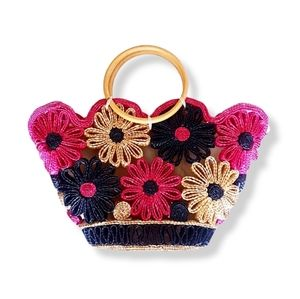 FLORAL Straw Black & Red Tote